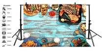 Baocicco 7x5ft Barbecue Backdrop BBQ Party Backdrop Roast Sausage Wood Board Steak Frankfurter Photography Bacdground Barbecue Grilled Outdoor Picnic BBQ Theme Birthday Party Children Photo Booth