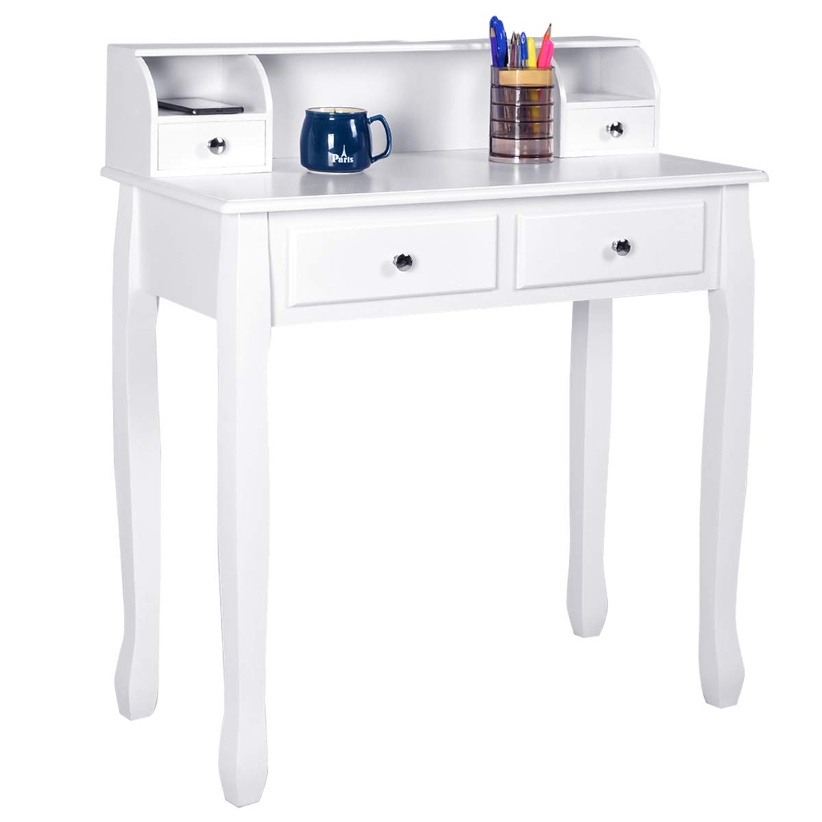 Giantex Writing Desk With 4 Drawers Removable Floating Organizer 2 Tier Mission Home Computer Vanity Desk For Apartment Small Space White