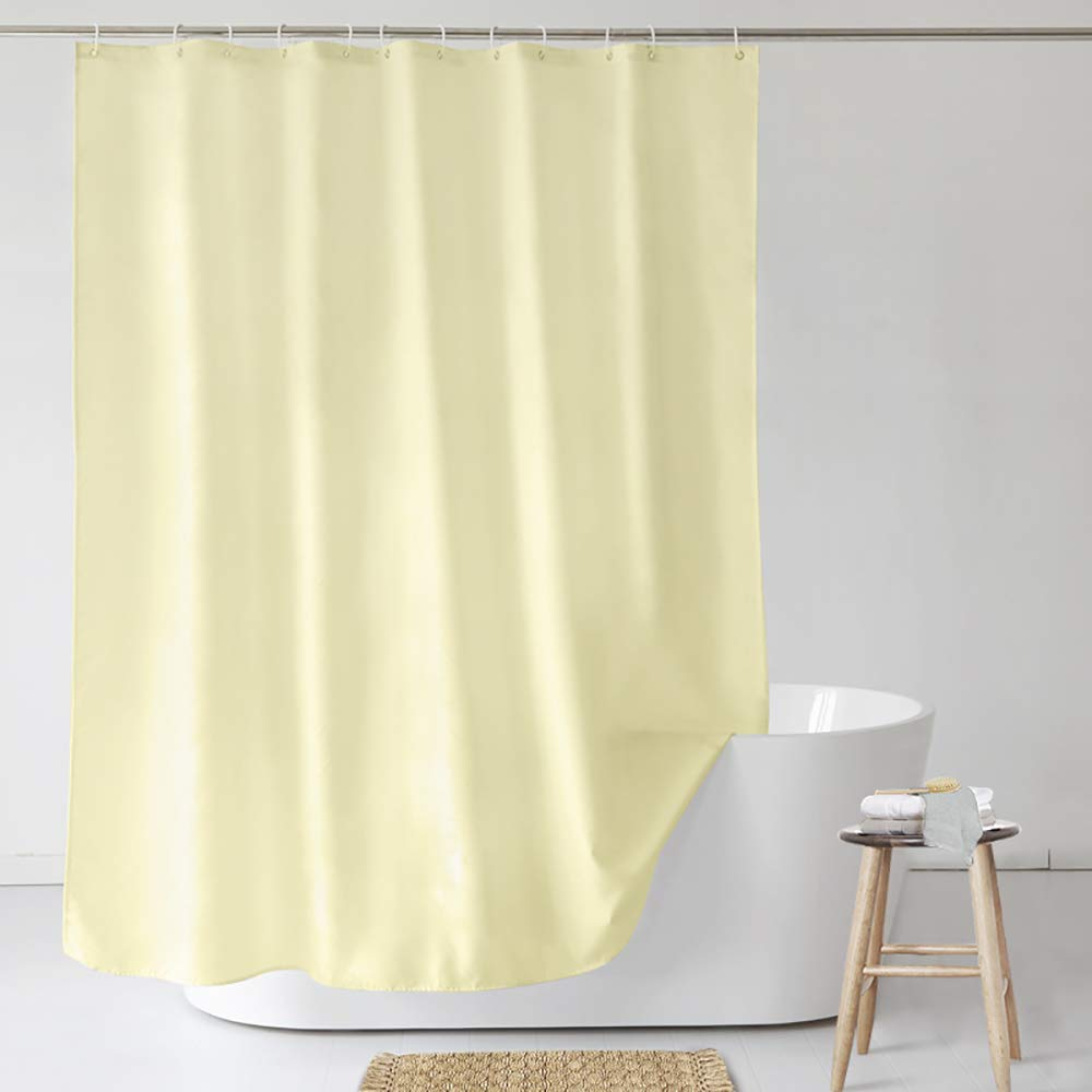 UFRIDAY Shower Curtain Poly Fabric with Reinforced Top Holes, Everyday Shower Curtain Liner, Use Standalone, Light Yellow Color in X Long Size, 72 by 78 inches