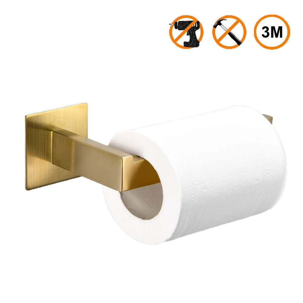 Leyden Self Adhesive Toilet Roll Paper Holder Bathroom Accessory,Brushed Gold Finish Stainless Steel Toilet Tissue Single Rail Holder,Half Open Toilet Roll Paper Ring.