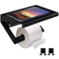 Toilet Paper Holder with Shelf,Adhesive Toilet Paper Holder Come with Two Hooks,Matte Black Toilet Paper Towel Roll Dispenser No Drill or Wall-Mounted with Screws for Bathroom & Kitchen