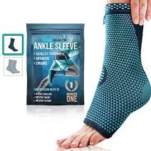 Keenhealth Ankle Compression Sleeve (1 Piece) - Ankle Support for Men and Women - Recovery from Achilles Tendonitis, Sprains and Arthritis - Achilles Tendon Support for Tennis, Running and Volleyball