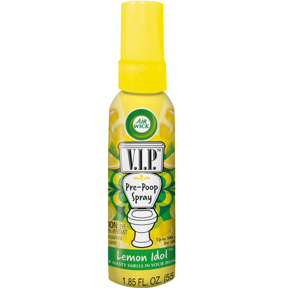 Air Wick V.I.P. Pre-Poop Toilet Spray, Up to 100 uses, Contains Essential Oils, Lemon Idol Scent, Travel size, 1.85 oz, Holiday Gifts, White Elephant gifts, Stocking Stuffers