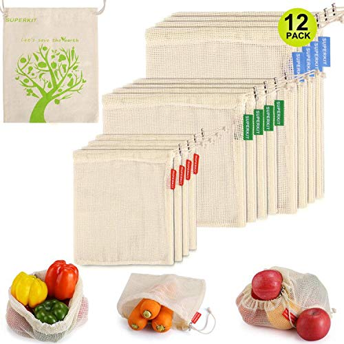 Reusable Produce Bags 12PCS, Organic Cotton Produce Bags Grocery Shopping Storage Bags with Tare Weight on Tags, Biodegradable, Machine Washable Bags Set of 12 (4 X Small, 4 X Medium, 4 X Large)