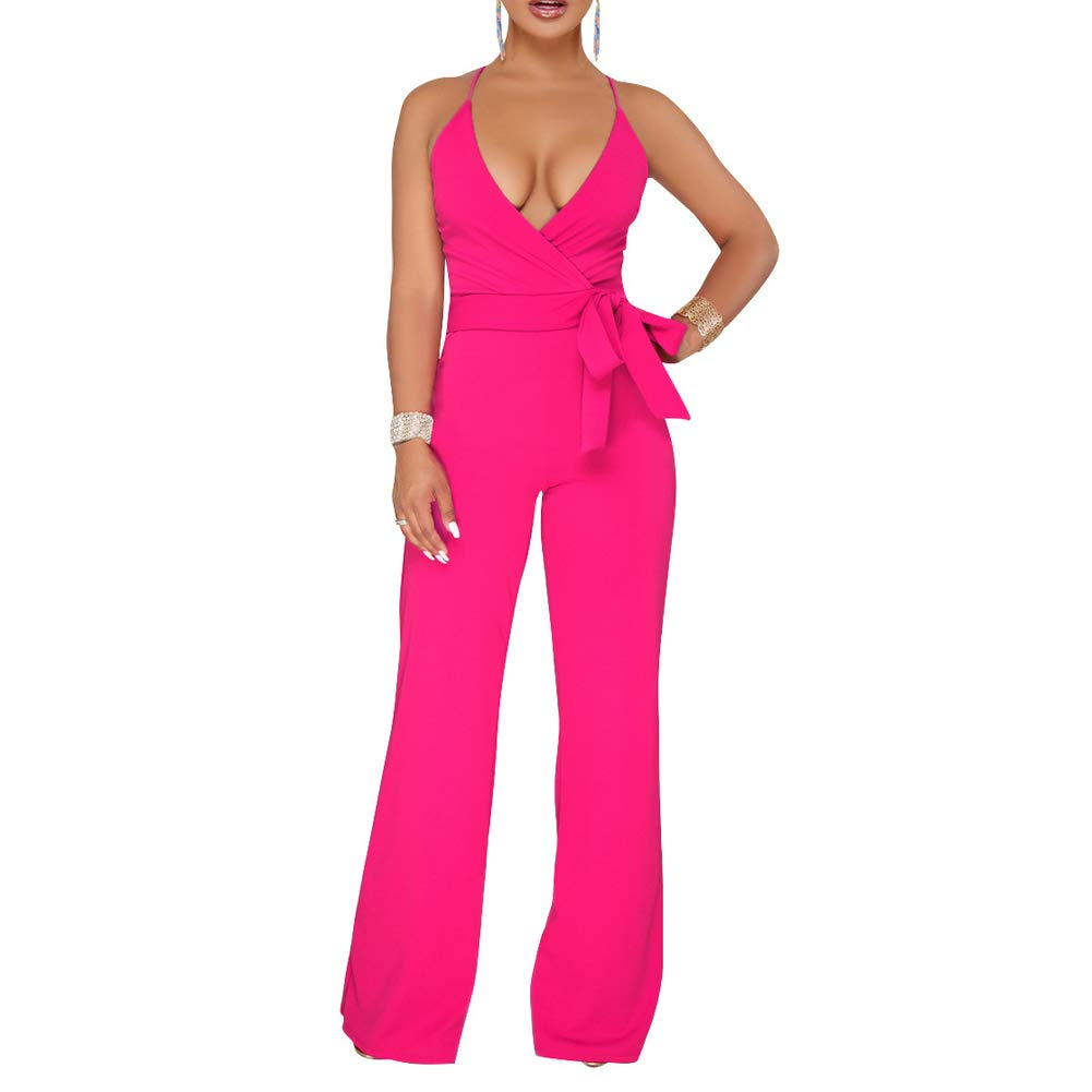 Oubaybay Women's V-Neck Jumpsuit slessveless Solid Color Sling Stitching Open Back Wide Leg Club
