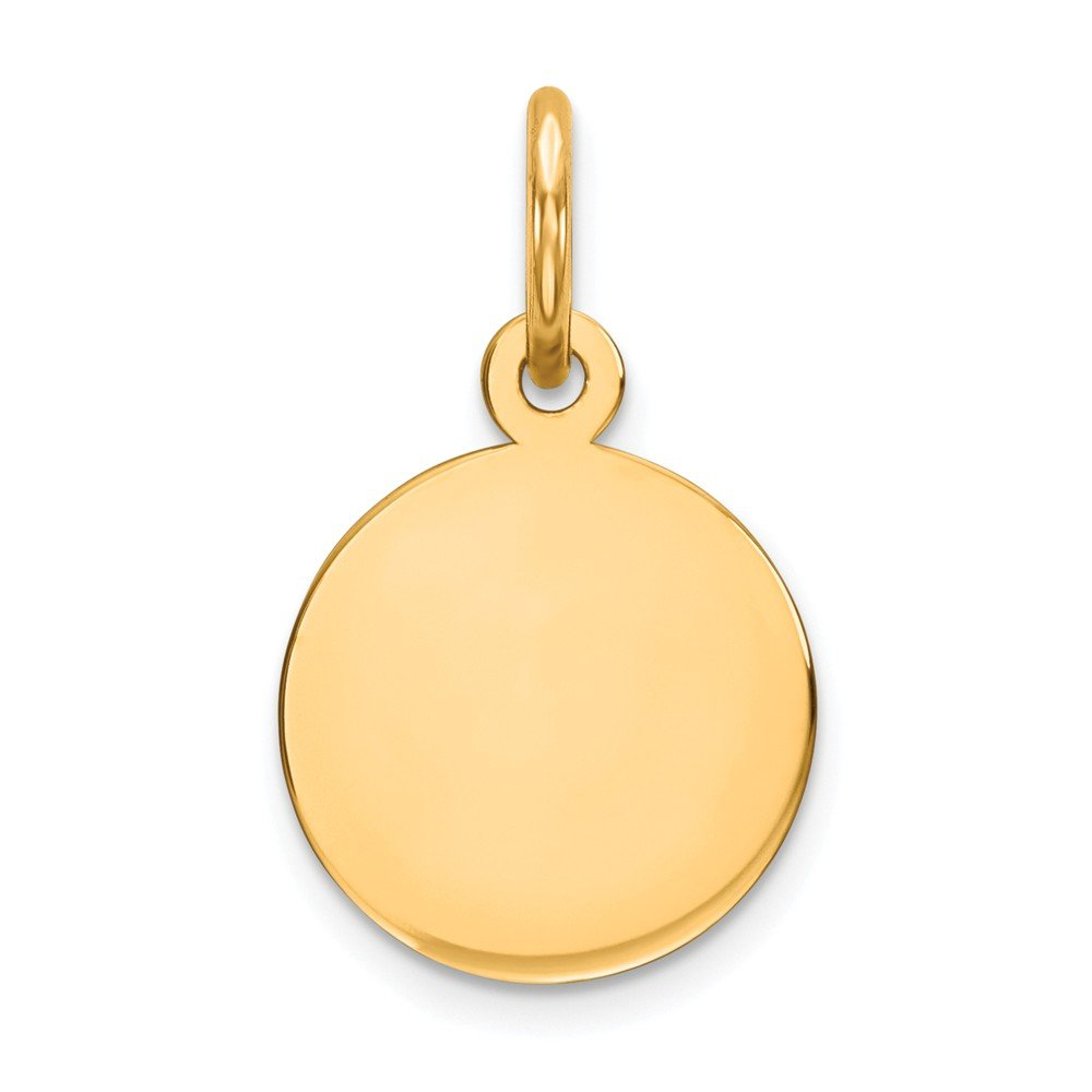 14k Yellow Gold .027 Gauge Circular Engravable Disc Pendant Charm Necklace Round Plain Fine Jewelry For Women Gifts For Her