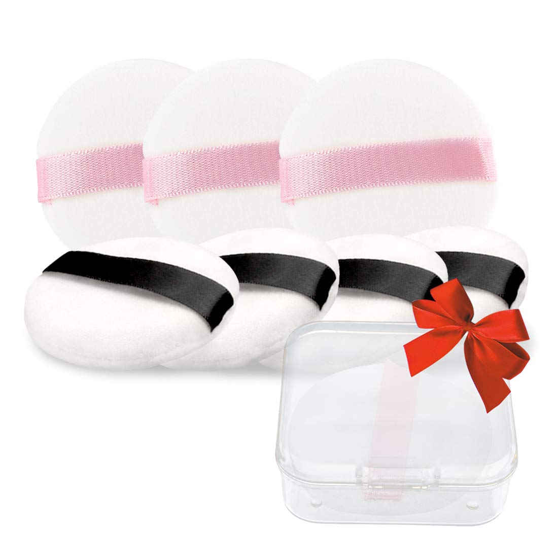Kalevel 8pcs Cosmetic Powder Puff Round Makeup Soft Sponge 2.2in Small Velour Face Body Powder Puffs Foundation Applicator Sponge with Handle and Portable Case for Home and Travel (Black + Pink Set)