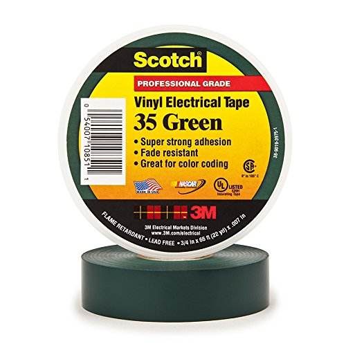 3M Safety 35-3/4X66FT-GY Scotch Vinyl Color Coding Electrical Tape 35, 3/4 in X 66 FT, Gray, 10 Carton, 100 Rolls/CASE, 66', Green