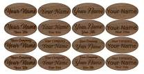 "Fisharply Employee Name Tags (Walnut, 3"" x 1.5"" Oval) 