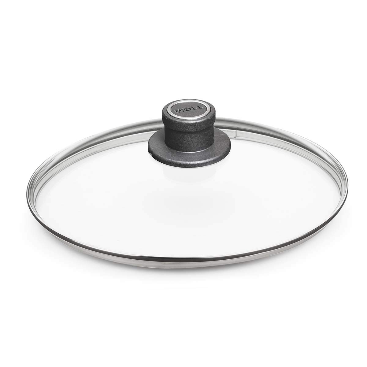 "Woll Tempered Glass with Stainless Steel Rim and Vented Knob Round Lid, 10-1/4"", Clear"