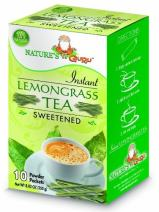 Nature's Guru Instant Lemongrass Tea Drink Mix Sweetened 10 Count Single Serve On-the-Go Drink Packets