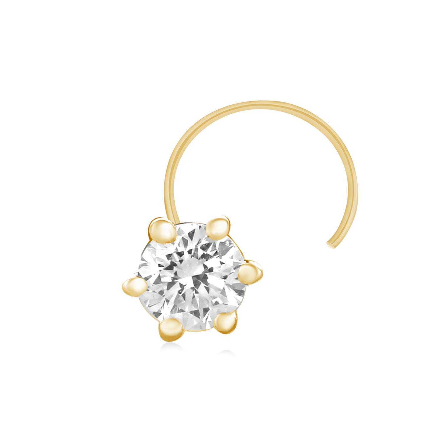 CARATS FOR YOU Brilliant Round Shape Real Natural Diamond, 10k Solid Gold Solitaire Nose Ring Stud Pin for women