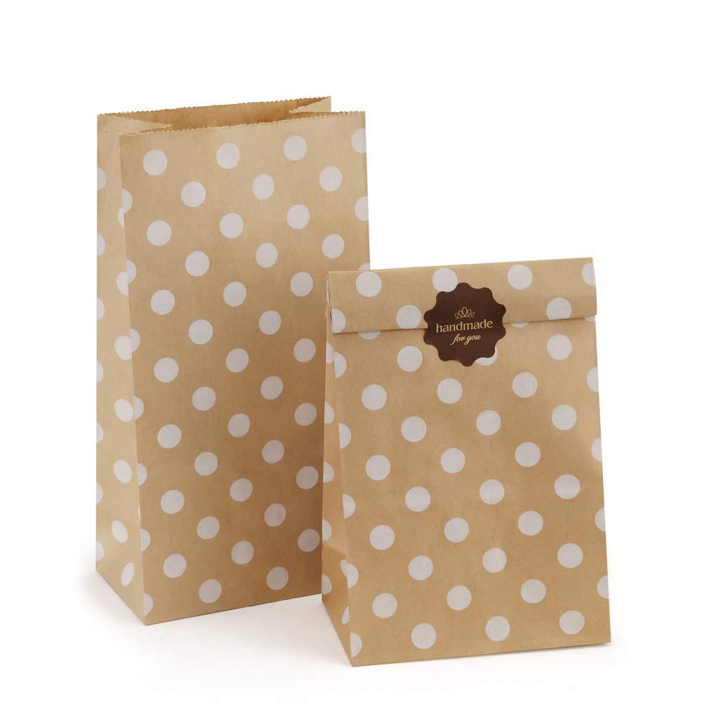 BagDream 4lb 5x2.95x9.45 Inches 100Pcs Paper Lunch Bags Kraft Paper Bags, Snack Bags, Bread Bag, Craft Bags, 100% Recycled Kraft Paper Brown Lunch Bags with White Dot