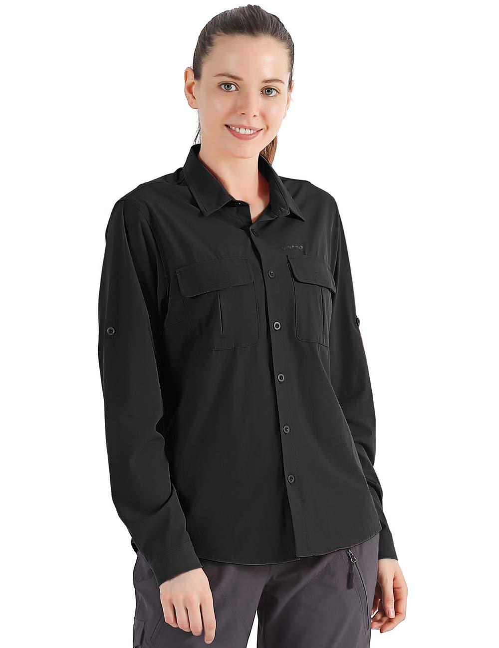 Unitop Women's Roll-Up Long Sleeve Fishing Shirt for Hiking Camping