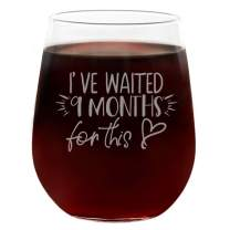 I've Waited 9 Months For This New Mom Gifts, Funny Cute Wine Glass, Engraved Stemless 21oz, Gift Box, Best Gift for Mother's Day, Mom Birthday, New Mommy Gift Ideas, Mom To Be, Mom Cup, Mom Wine Glass