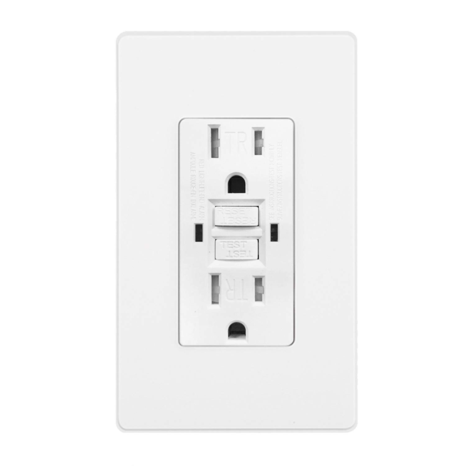BESTTEN Tamper-Resistant GFCI Outlet Receptacle (15Amp 125Volt), LED Indicator, Decor Wall Plate and Screws Included, ETL Certified, White
