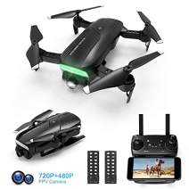 Drones with Camera for Adults 720P HD, Foldable FPV WiFi RC Quadcopter, 120° Wide-Angle Live Video Camera, Altitude Hold, APP Control, One Key Return, Easy to Fly for Beginners, 2 Batteries
