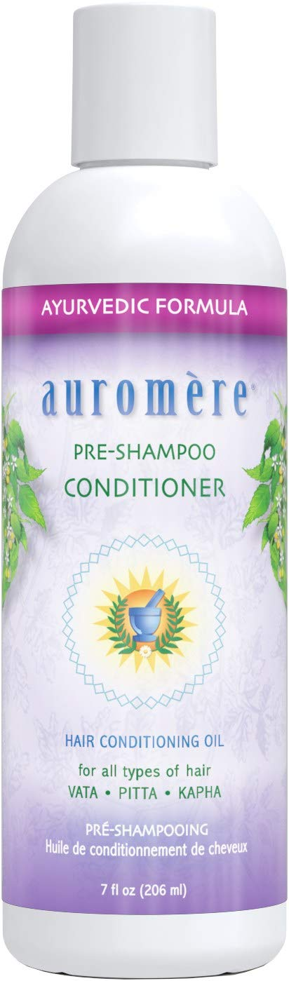 Auromere Ayurvedic Pre-Shampoo Conditioner - All Natural Hair Conditioning Oil for All Types of Hair w/Sesame Oil, Coconut Oil, Ginger Lily, Castor Leaf, Exctracts of Neem and More - 7 fl oz