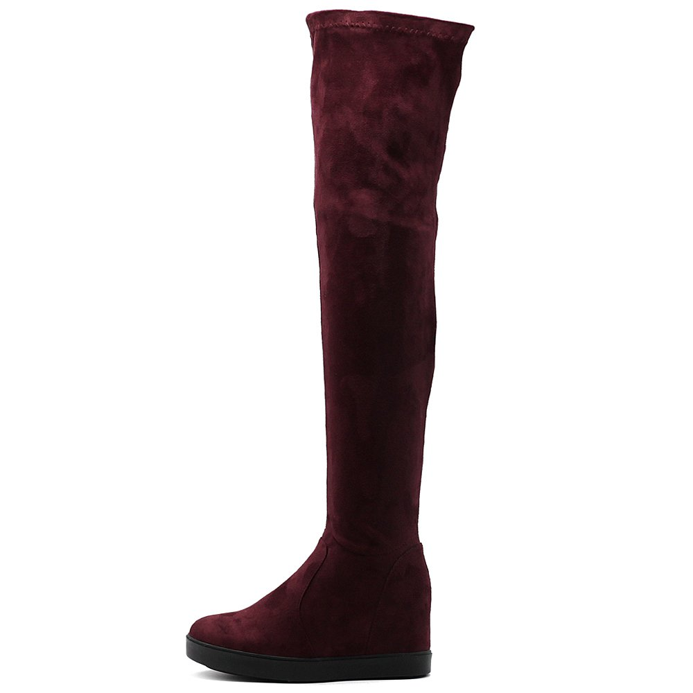 Ollio Women's Shoes Stretch Faux Suede Thigh High Platform Flat Long Boots
