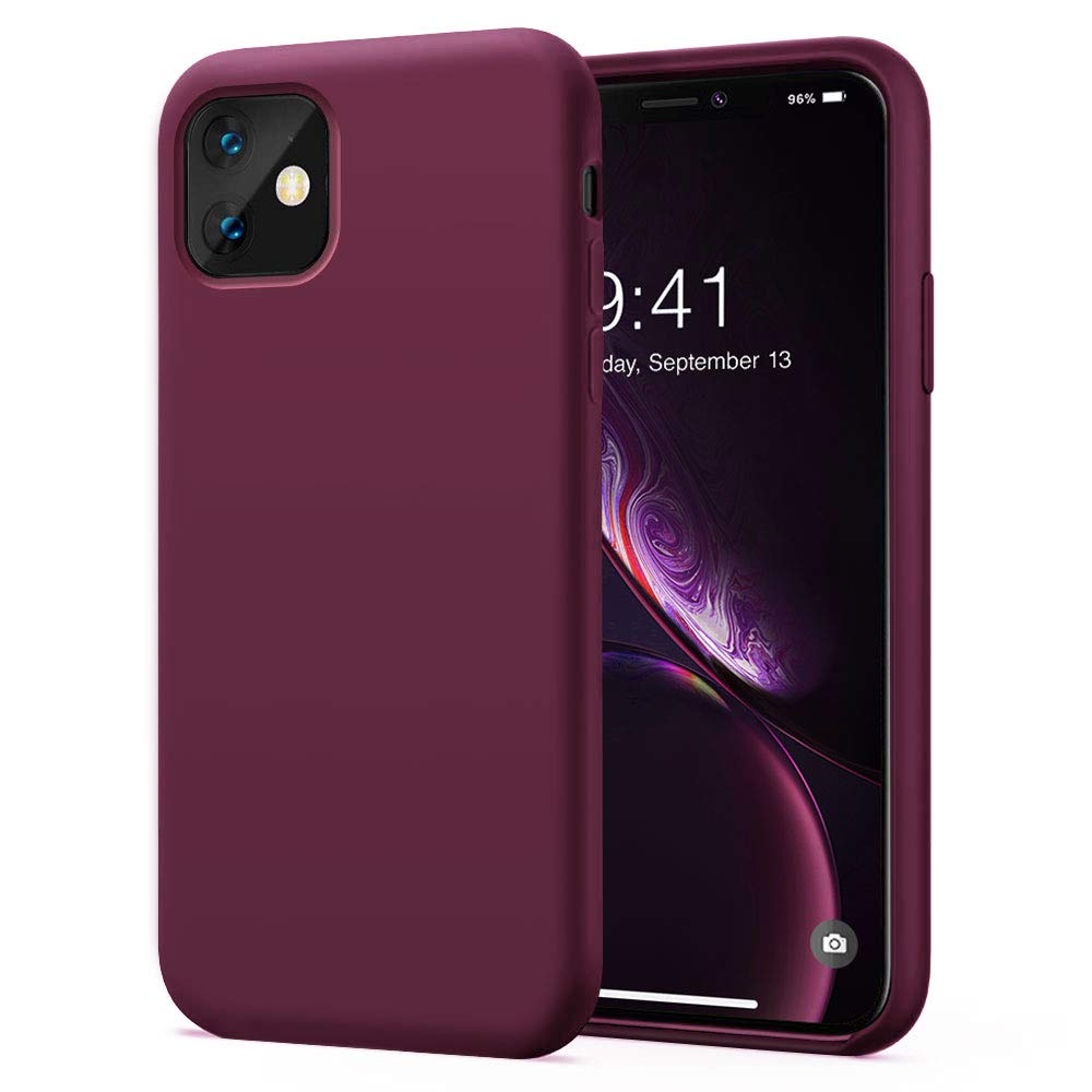 KUMEEK iPhone 11 Case, Soft Silicone Gel Rubber Bumper Case Anti-Scratch Microfiber Lining Hard Shell Shockproof Full-Body Protective Case Cover for iPhone 11-WineRed