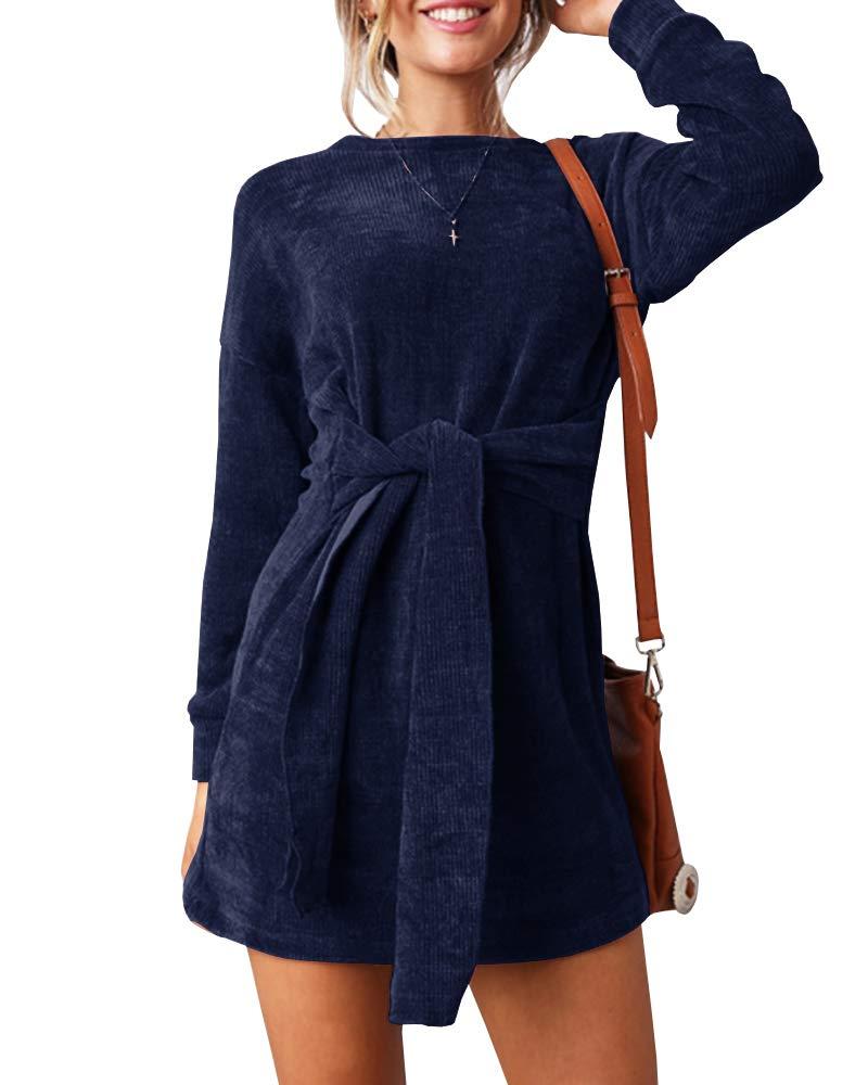 Klousilover Womens Velvet Tie Front Short Dress Casual Long Sleeve Elegant Slim Fit Party Mini Dresses