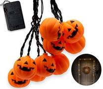 Top Race Halloween String Lights, 10 Big 3 Inch Battery Powered Jack o Lantern Blinking Lights with Motion Sensor and Halloween Music, Halloween Decorations. (Pumpkin)