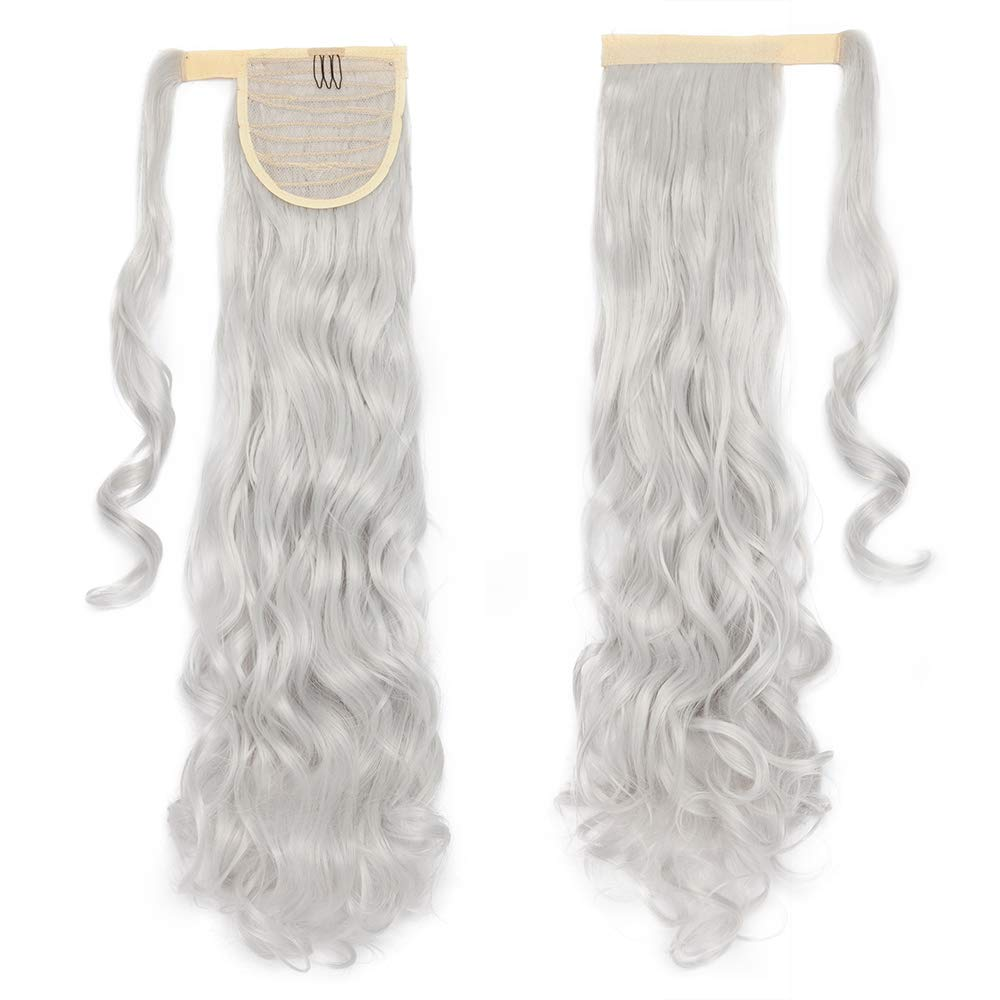 One Piece Ponytail Hair Extensions Clip in Wrap Around on Pony Tail 125G Thick Real Natural Synthetic Fibre Ponytail Hairstyle Hairpiece for Women Curly 24 inch silver gray