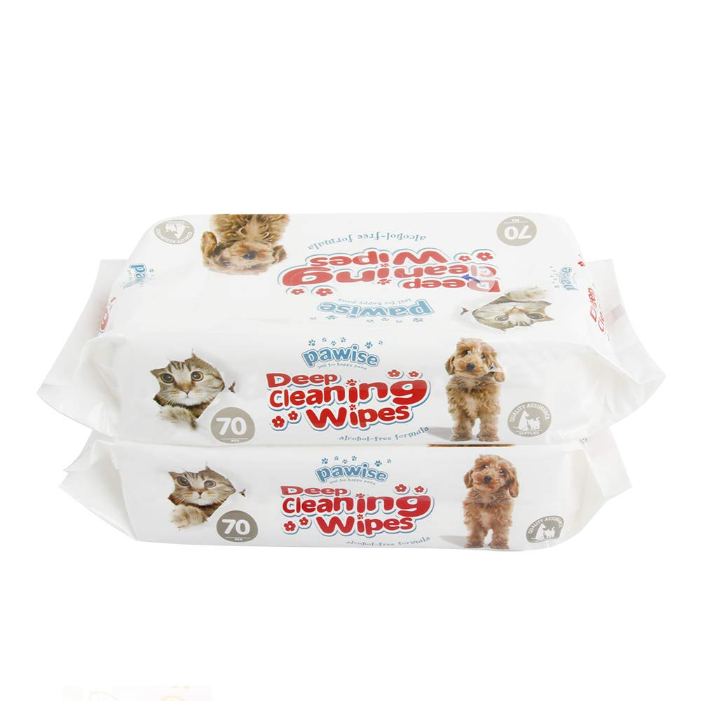 PAWISE Pet Hypoallergenic Wipe Unscented Eye Wipes for Dogs and Cats, 140 Counts, 2 Packs