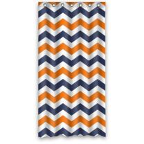 FUNNY KIDS' HOME Navy Deep Blue Orange Chevron- Personalize Custom Bathroom Shower Curtain Waterproof Polyester Fabric 36(w) x72(h) Rings Included