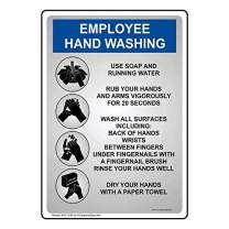 Employee Hand Washing Sign, 10x7 inch Plastic for Handwashing by ComplianceSigns