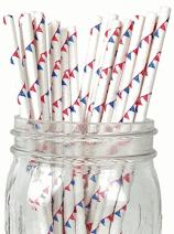 Just Artifacts - Decorative Paper Straws 100pcs - Pennant w/Polka Dot Pattern - Red/Royal Blue - Decorative Paper Straws for Birthday Parties, Weddings, Baby Showers, and Life Celebrations!