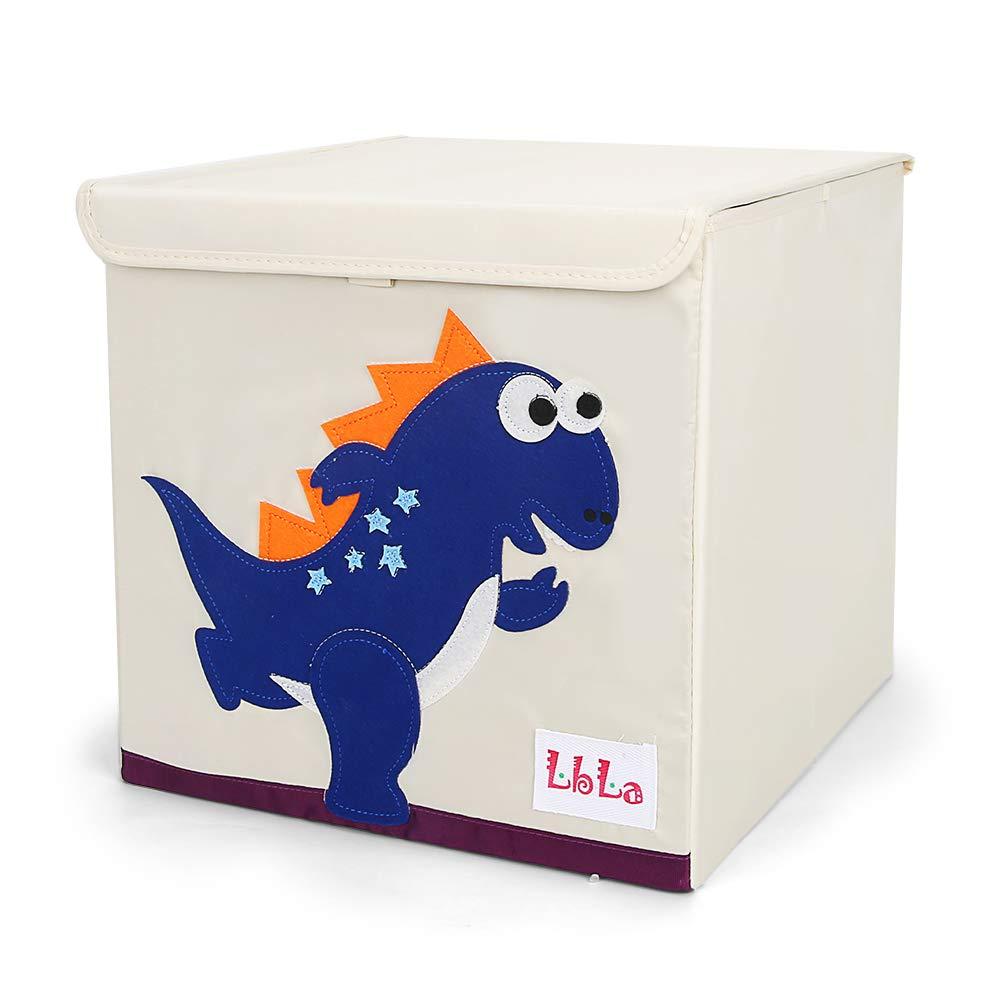 LBLA Foldable Animal Storage Toy Box/Bin/Cube/Chest/Basket/Organizer for Kids & Toddlers, 13 inch (Dinosaur) (Dark Blue)