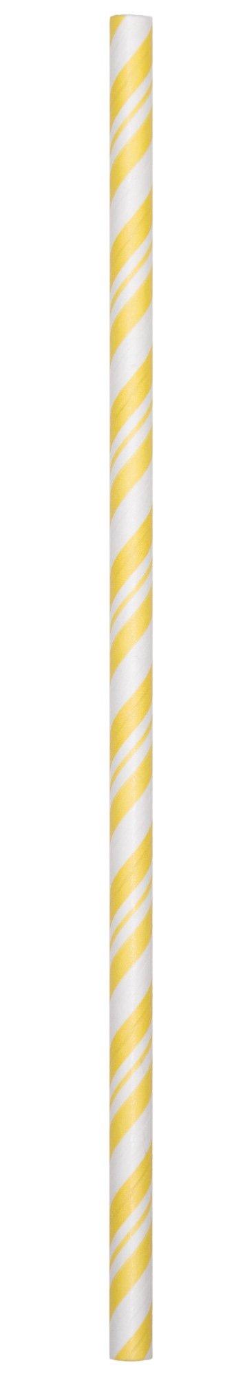 Creative Converting 24 Count Paper Straws, Mimosa Yellow/White Stripe