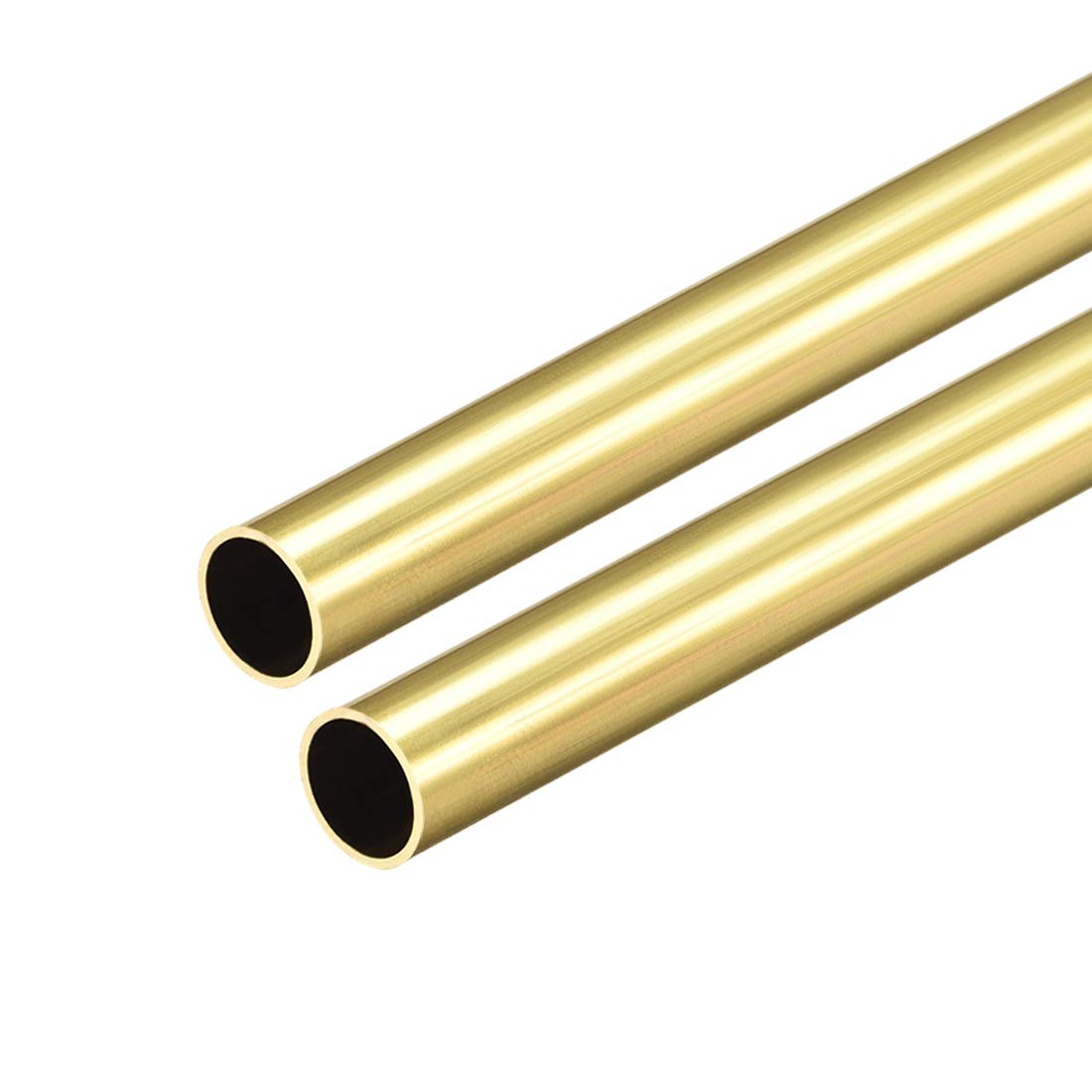 uxcell Brass Round Tube, 300mm Length 9.5mm OD 0.5mm Wall Thickness, Seamless Straight Pipe Tubing 2 Pcs