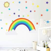 Rainbow Wall Decal Wall Stickers Removable for Girls Bedroom Decor Kids Room Decal