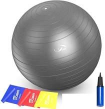 JBM Exercise Yoga Ball with Free Air Pump 200 lbs Slip-Resistant Yoga Balance Stability Swiss Ball