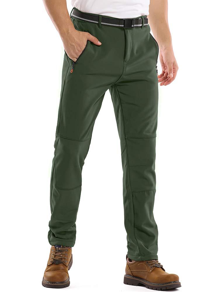 Toomett Men's Snow Ski Fleece Pants for Spring and Fall Outdoor Waterproof Hiking Softshell Pants