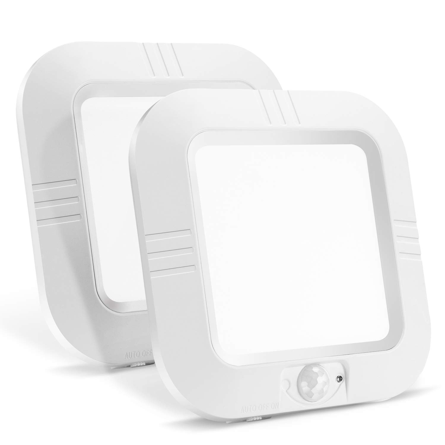 Lineway Motion Sensor Light LED Ceiling Light Battery Operated Indoor Wireless Motion Activated Light 180LM 6000K Auto On/Off Lighting for Stairway Cabinet Closets Basement Pantry (2 Pack)