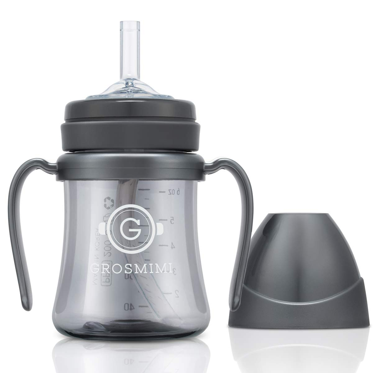 Grosmimi Spill Proof no Spill Magic Sippy Cup with Straw with Handle for Baby and Toddlers, Customizable, PPSU, BPA Free 6 oz (Charcoal)