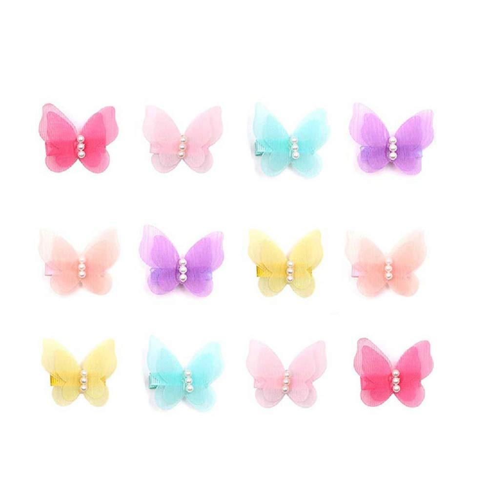 MJartoria MJartoria 12 Packs 6 Colors Baby Girl Hair Clips Chiffon Non-Slip Butterfly Clips Barrettes for Teens Kids Hair Accessories