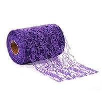 Adeeing 6 Inch x 25 Yards Vintage Lace Roll Floral Lace Ribbon for Tutu Skirt Fabric Table Runner Chair Sash DIY Wedding Party Bridal Shower Decorations Gift Bow Craft Dark Purple