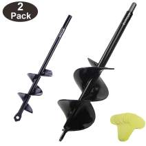 """Auger Drill Bit Garden 3""""x12"""" & 1.6""""x9"""" Solid Barrel Dual-Blades Plant Flower Bulb Auger Spiral Hole Drill Rapid Planter Earth Post Umbrella Hole Digger for 3/8"""" Hex Drive Drill for Any Kinds Soils"""