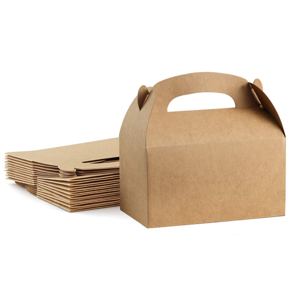 ValBox Treat Boxes 30 Pack Brown Kraft Paper Gable Gift Boxes - Goodies Favor Box for Kids' Birthday Party, Wedding, Baby Shower, 6.2 x 3.5 x 3.5 Inches