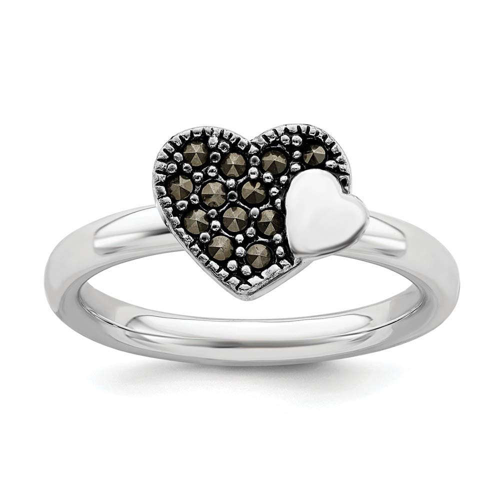 925 Sterling Silver Marcasite Heart Band Ring S/love Stackable Gemstone Fine Mothers Day Jewelry For Women Gifts For Her
