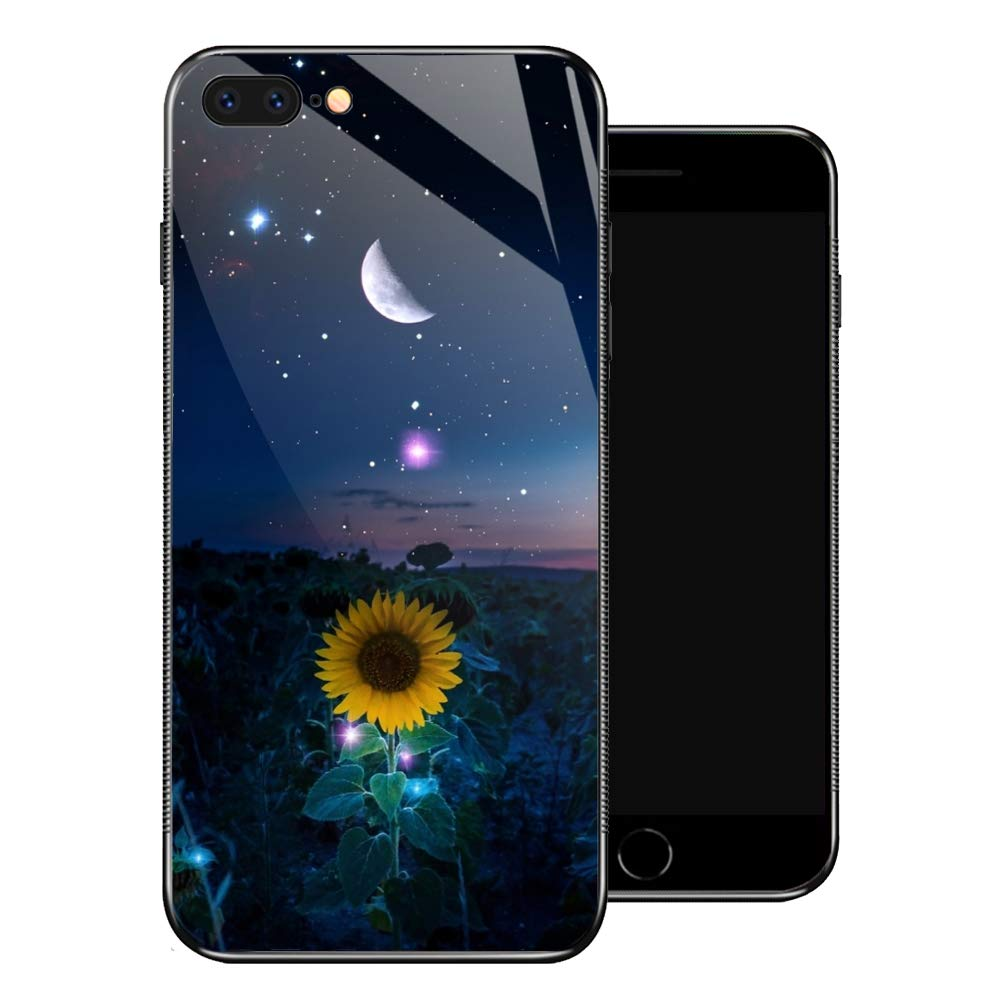 ZHEGAILIAN iPhone 8 Case,Starry Night iPhone 7 Cases for Girls,Tempered Glass Pattern Design Back Cover [Shock Absorption] Soft TPU Bumper Frame Support Case for iPhone 7/8 Sunflower Moon