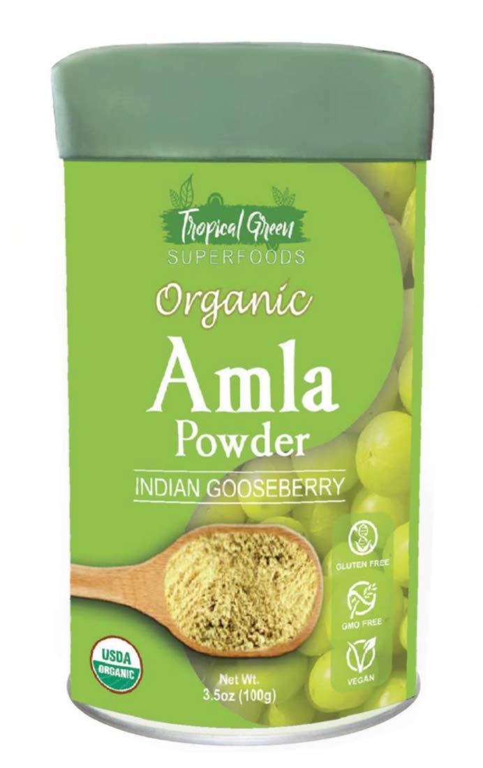 Organic AMLA Powder 3.5 Oz, USDA Organic. Natural Vitamin C and Antioxidants. Raw Whole Superfood. 100% All Natural, Pure and Fresh. No GMO. Gluten Free by Tropical Green Organics
