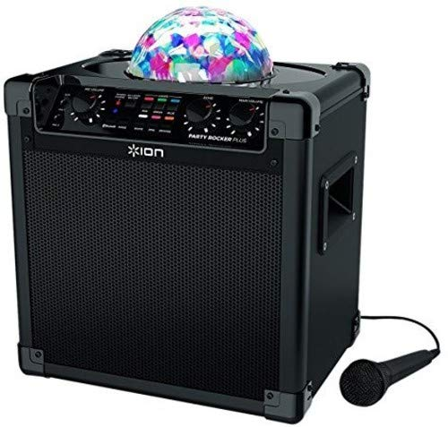 ION Audio Party Rocker Plus   Portable Bluetooth Party Speaker System & Karaoke Machine with Built-In Rechargeable Battery, App-Controlled Party Light Display & Microphone