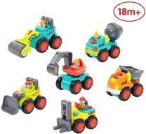 Happytime Baby Cars Early Education Toys Baby Pocket Construction Vehicles Trucks, Bulldozer,Cement Mixer, Dumper, Forklift, Excavator and Road Roller Toy Sets for 18 Month+ Old Infant Toddlers