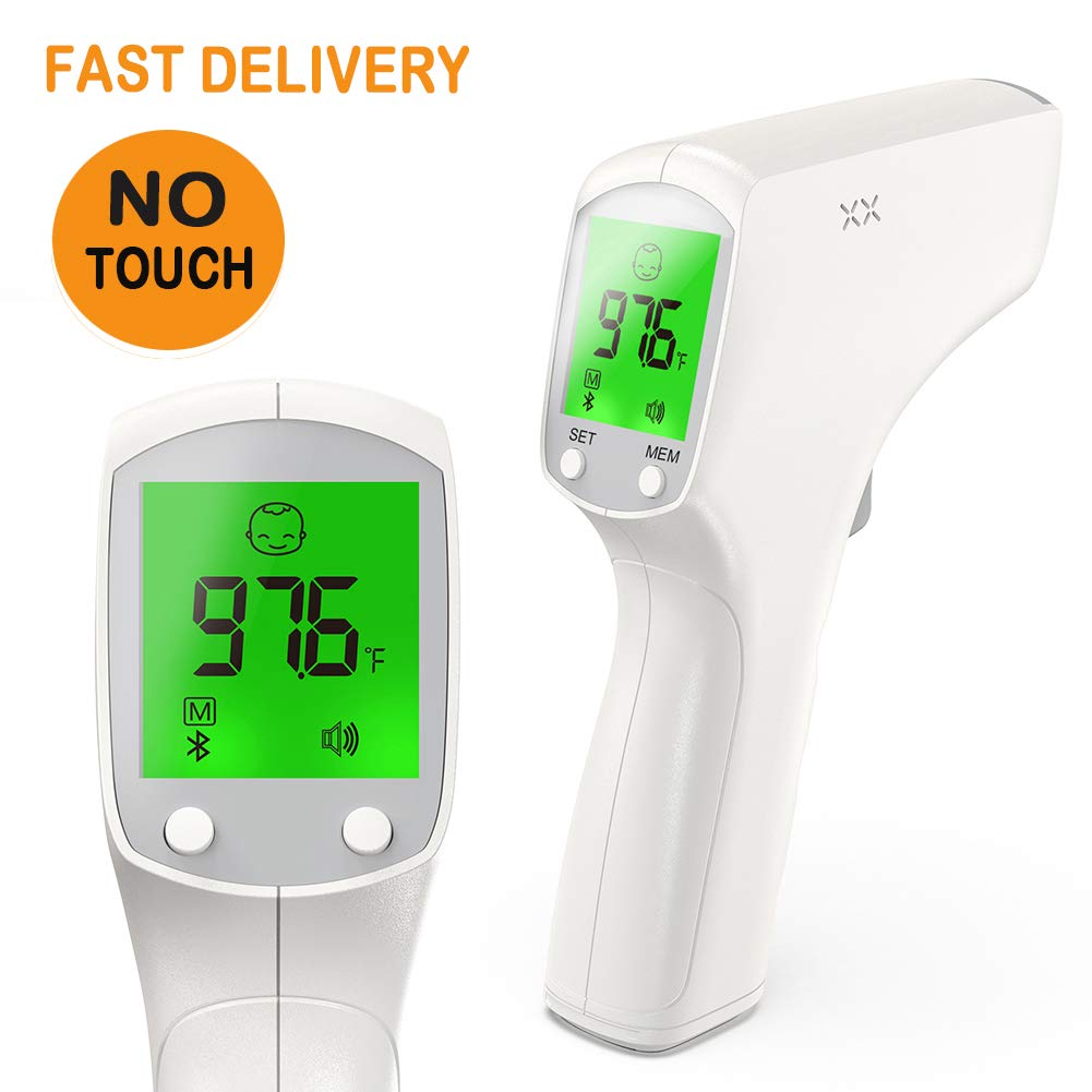 ALPHAMED 6 in 1 Forehead Thermometer For Adults LCD Digital Display Infrared Non Contact for Kids Baby Touchless Accurate Instant Readings Temporal Professional
