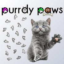 Purrdy Paws Soft Nail Caps for Cat Claws Metallic Silver